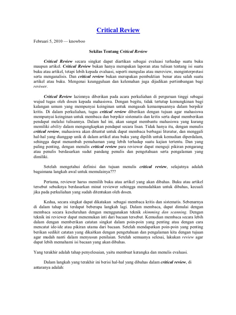 Langkah Critical Review