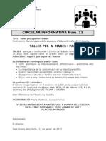 Circular Informativa n 11 Tallers 11 12