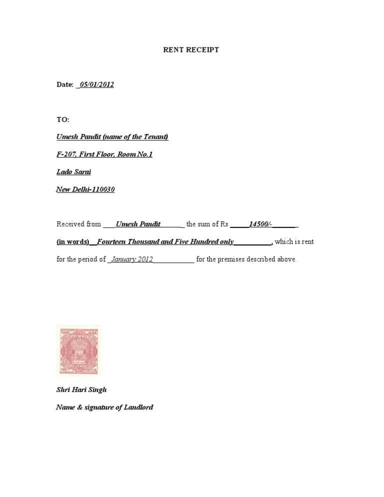 rent receipt format with revenue stamp - Kardas.klmphotography.co