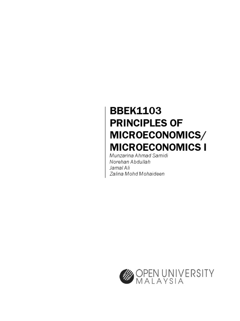 Bbek 1103 Principles Of Microeconomics V August 11 Sem Sept 11