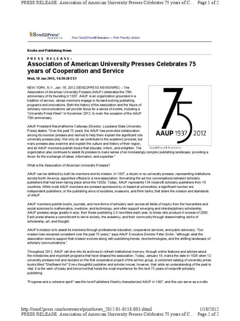 Association of American University Presses Celebrates 75 Years of ...