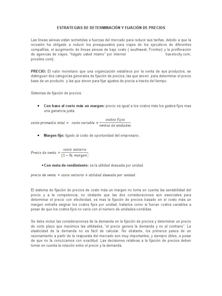 ESTRATEGIAS DE DETERMINACIÓN Y FIJACIÓN DE PRECIOS- resumen cap 15