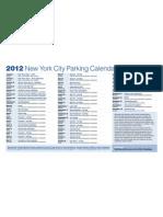 2012 Parking Calendar