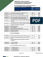 ICES Costos y Servicios en Mostrador Tarifa 2012
