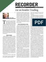 1-11-12 Recorder -- SEC's War on Insider Trading (JLK Article)