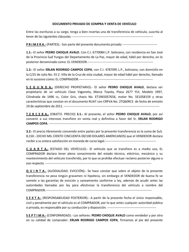 DOCUMENTO PRIVADO DE COMPRA Y VENTA DE VEHÍCULO