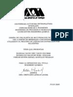 Tesis DISEÃ'O DE PLANTA PARA ORO Y PLATA A PARTR DE MINERALES CONCENTRADOS