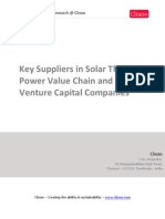 Key Suppliers in Solar Thermal Value Chain and Venture Capital Companies