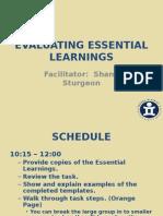 Evaluting Essential Learnings