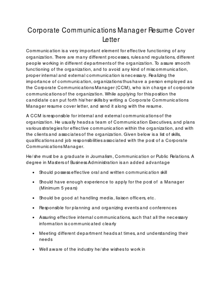 Corporate Communication Manager Resume Cover Letter | Résumé ...