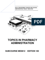 US Army Medical Course MD0812-100 - Topics in Pharmacy Administration