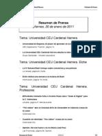 Resumen Prensa CEU-UCH 20-01-2012