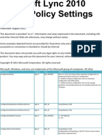 Lync 2010 Group Policy Settings