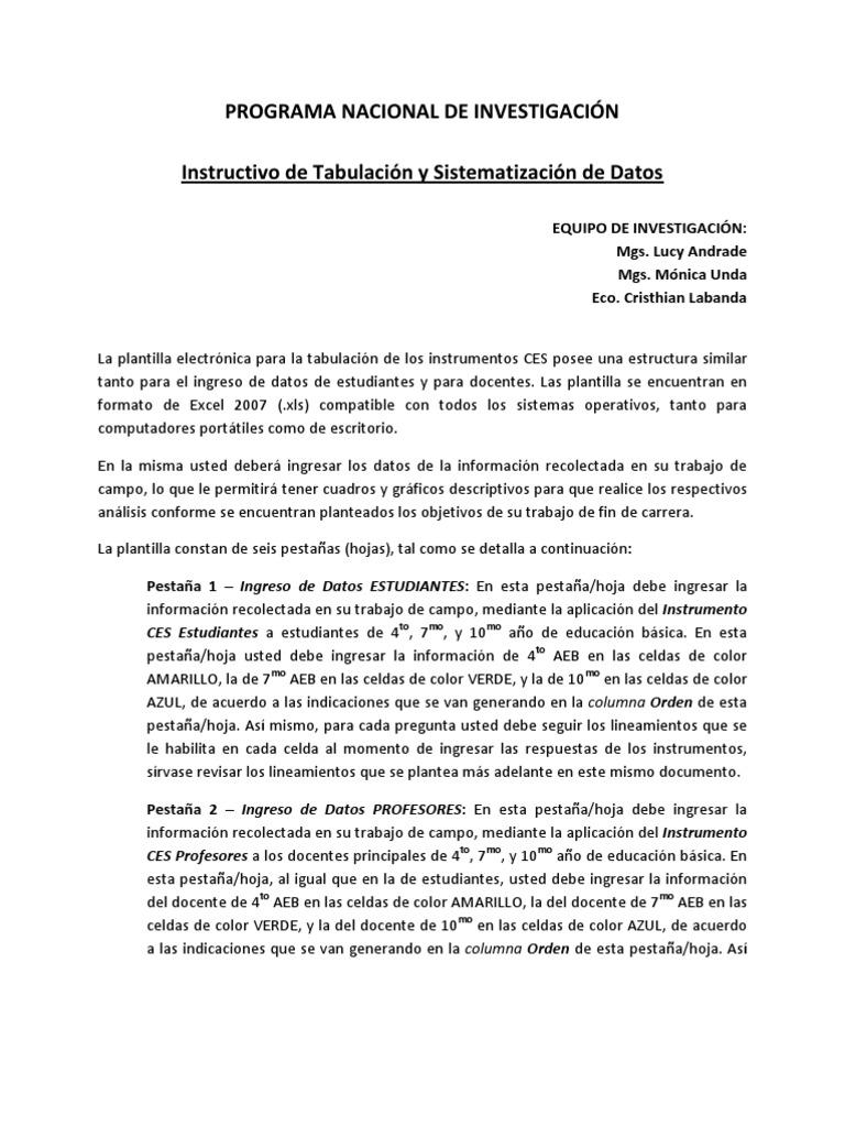 Instructivo de Tabu Lac Ion - Programa Nacional de Investigacion