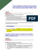 Borrador Modificaciones Al Estatuto de La Cooperativa de Agua Potable Rural Pellines Ltda PDF.