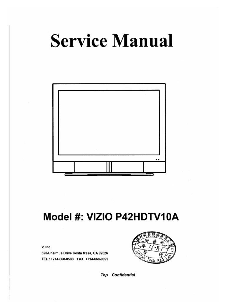 Vizio P42hdtv10a Service Manual Video Flash Memory Speaker Protection Circuit 2pcb Schematic Delay