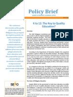 PB 2011-02 - K to 12 the Key to Quality