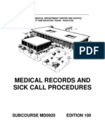 US Army Medical Course MD0920-100 - Medical Records and Sick Call Procedures