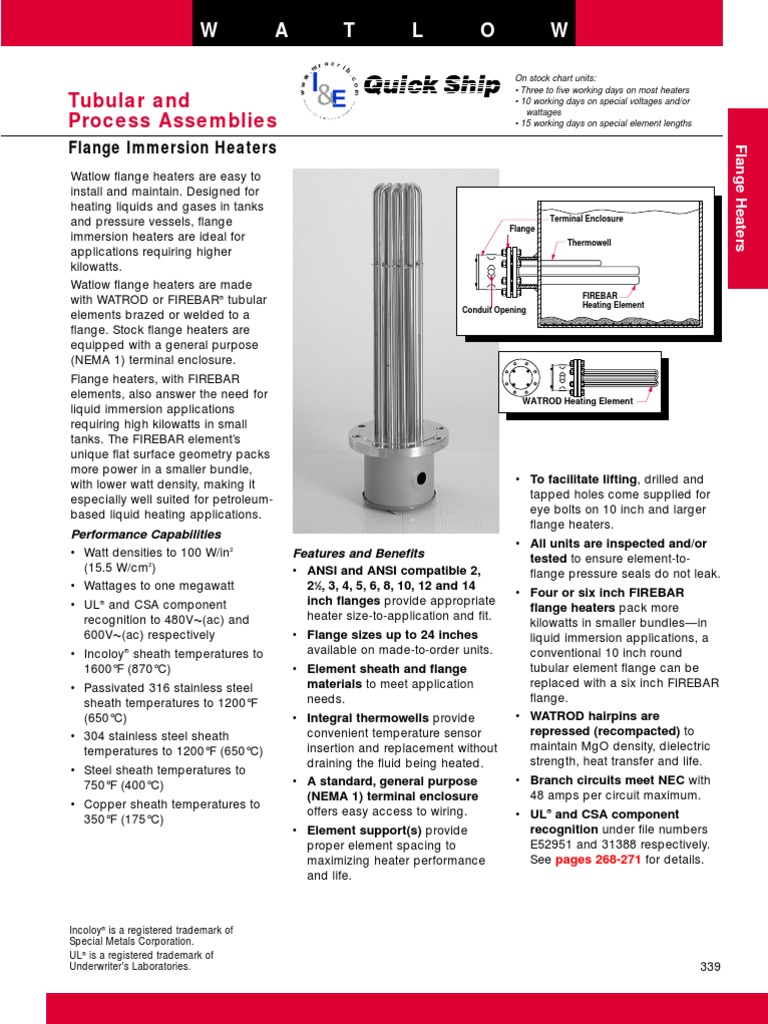 Immersion Heaters Flange | Thermocouple | Hvac on