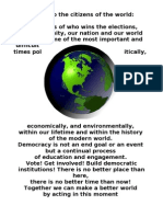 A Note to the Citizens of the World