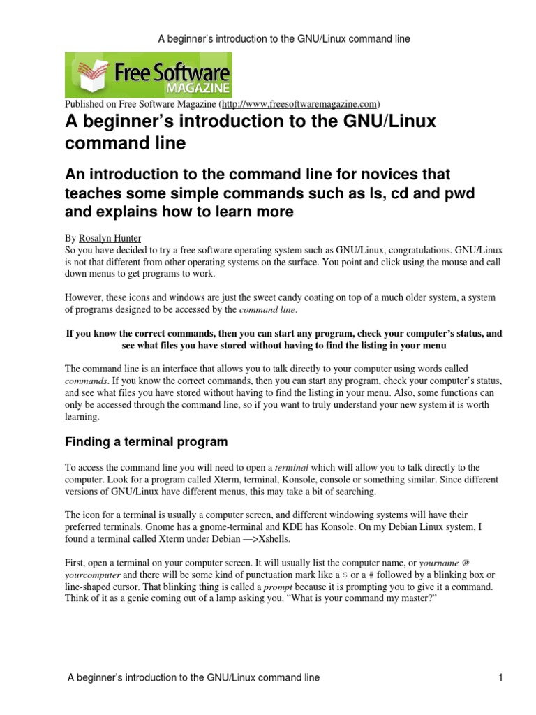 A beginner's introduction to the GNU-Linux command line | Command