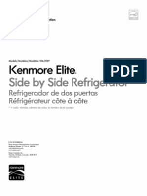 Kenmore Elite Side by Side Refrigerator 106 5118 (English
