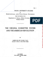 The Virginia Committee System and the American Revolution By James Miller Leake