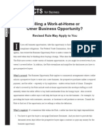 FTC Rule On Selling Work Home or Other Business Opportunity