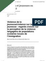 regards croisés sur la perception de la violence langagière de populations scolaires issues de l'immigration