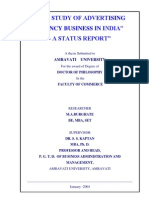 "A Doctoral thesis on ""THE STUDY OF ADVERTISING AGENCY BUSINESS IN INDIA""- A STATUS REPORT"""