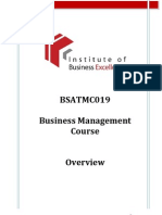 Business Management Course Overview 2010