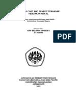Analisis Kebijakan Cost and Benefit Terhadap Kebijakan Fiskal