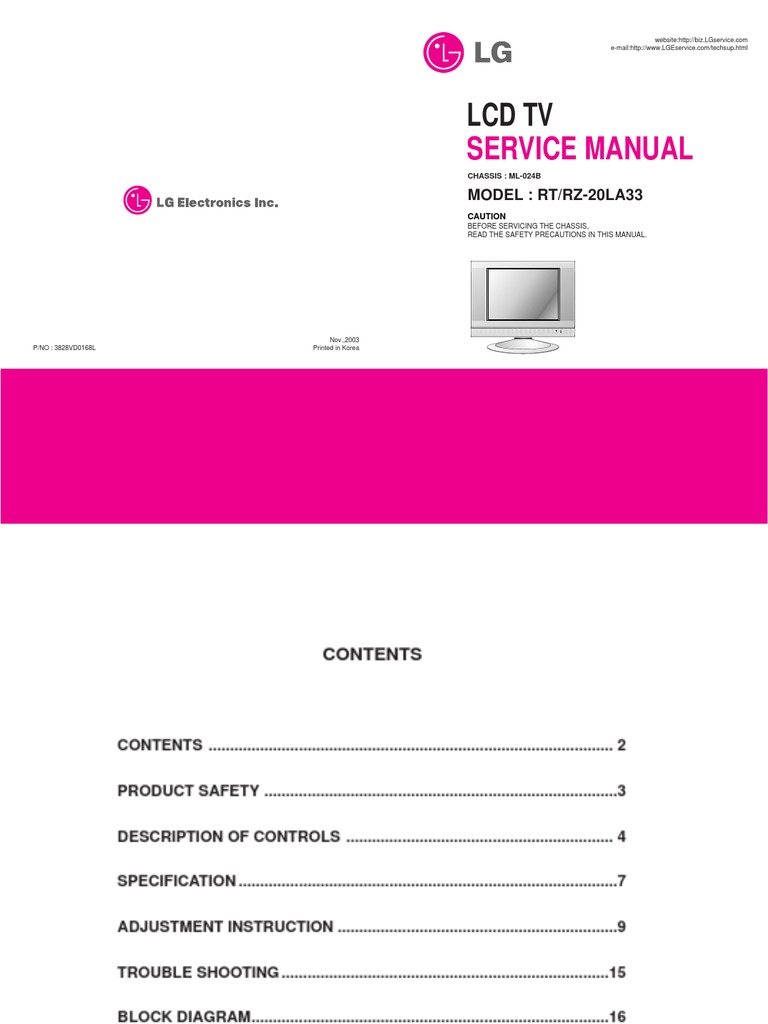 lcd service manuals