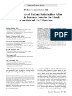 Hand Surgery Patient Satisfaction After Surgery