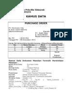 Kamus Data Dokumen Masukan Formulir Permintaan Pesanan