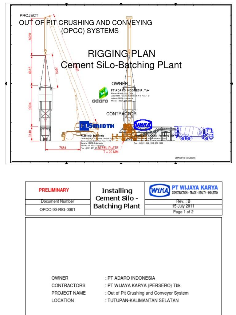 Rigging Plan Cement Silo Crane 45 Crane Machine Risk