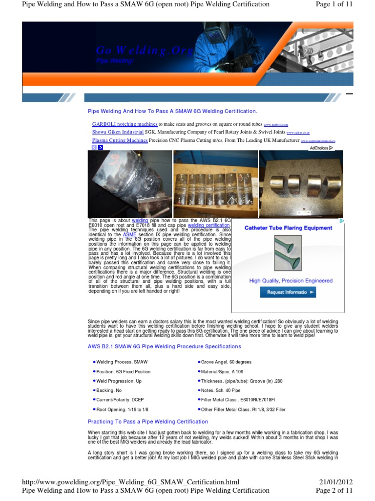 Pipe Welding 6G SMAW Certification | Welding | Pipe (Fluid Conveyance)