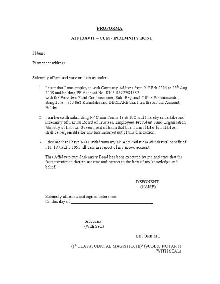Affidavit Cum Indemnity Bond