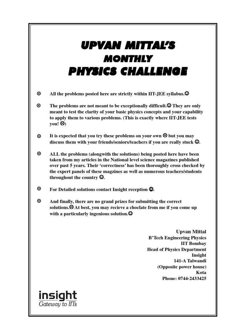 upvan mittal%s physics challenges mass
