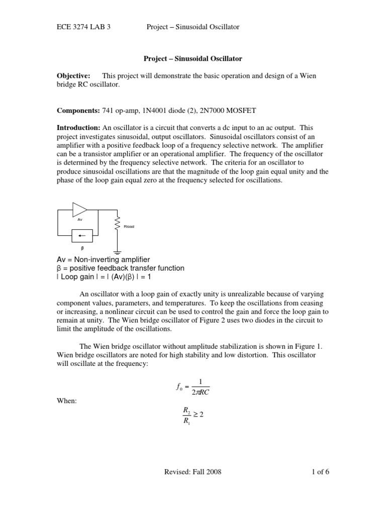 Sinusoidal Oscillator Electronic Amplifier Square Wave Generator Using Ua 741