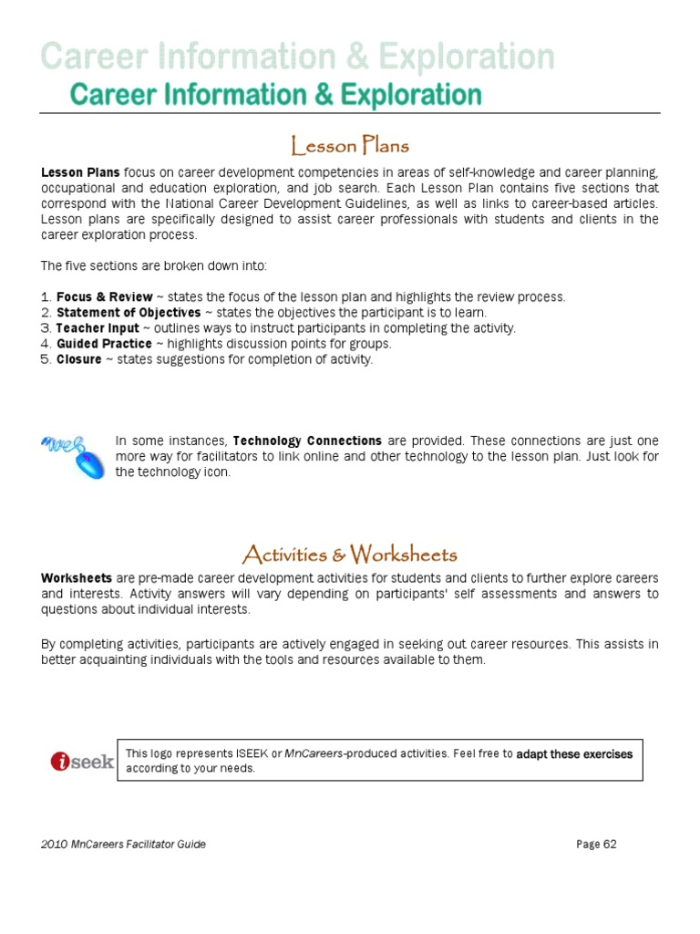 Career Activities 1 10   Facilitator   Lesson Plan