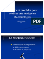 Procédure analyses bactériologique 2009