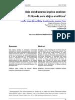Antaki (2003). El análisis del discurso implica analizar. Crítica de seis atajos analíticos