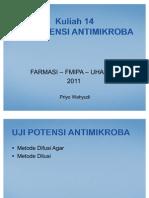 (Mikro) Kuliah 14 Uji Antimikroba