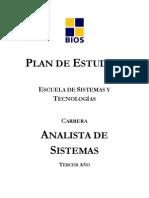 Plan de Estudios Tercer Año Carrera Analista de Sistemas 2010