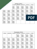 Calendário Mensal 2012 com tarefas