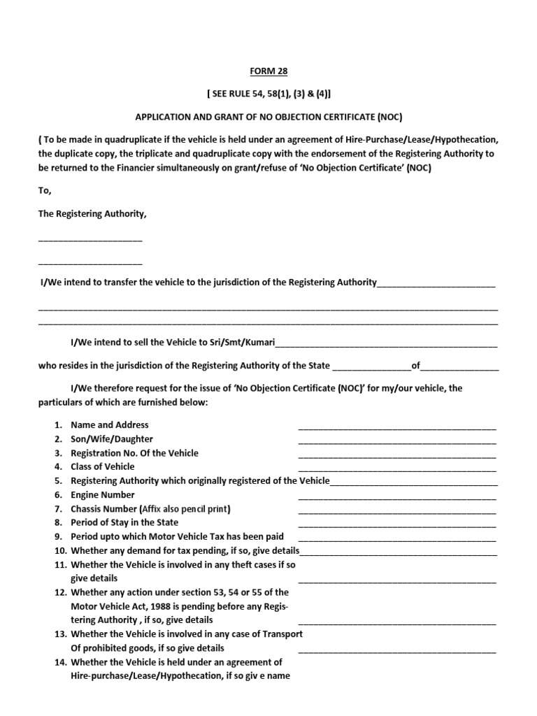 Form 28 grant of no objection certificate vehicles public law thecheapjerseys Images