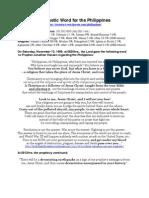 Divine Full Judgment on Philippines Beginning in 2012