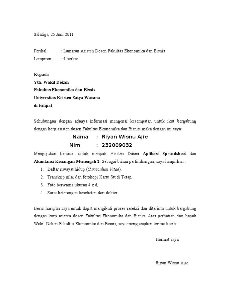 Contoh Surat Lamaran Kerja Asisten Dokter Contoh Lif Co Id