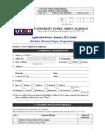 Application Form BACHELOR 2012